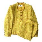 極美品 ジバンシィ GIVENCHY ウール混 ツイード セットアップ スーツ ジャケット スカート オールド ヴィンテージ ビンテージ  423445-57 大きいサイズ 46 4L 黄 イエロー レディース 買い取りさせて頂きました♪