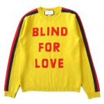 美品 18AW グッチ GUCCI BLIND FOR LOVE ウルフ 狼 ライン ウール ニット セーター カットソー 長袖 丸首 496683 X9179 サイズXS 黄 イエロー メンズ 買い取りさせて頂きました♪